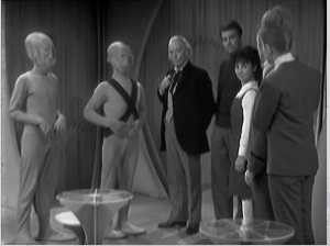 The Doctor, Ian, and Susan meet with the elders.